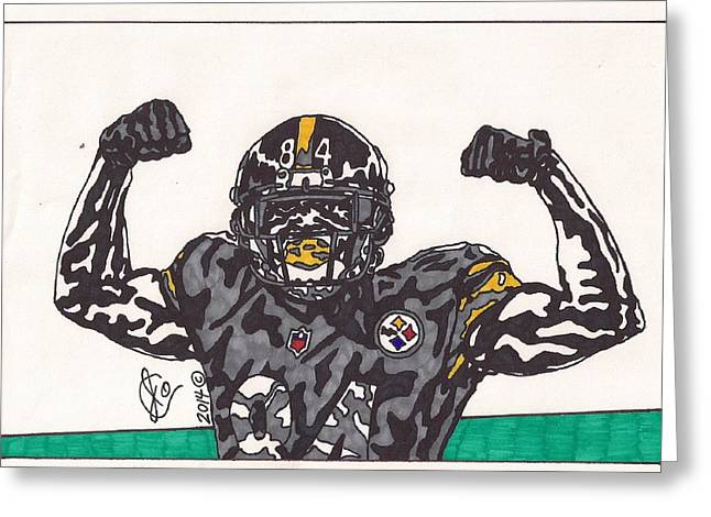 Pro Football Drawings Greeting Cards - Antonio Brown Greeting Card by Jeremiah Colley