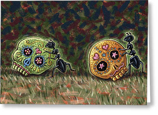 Ants And Sugar Skulls Greeting Card by Holly Wood