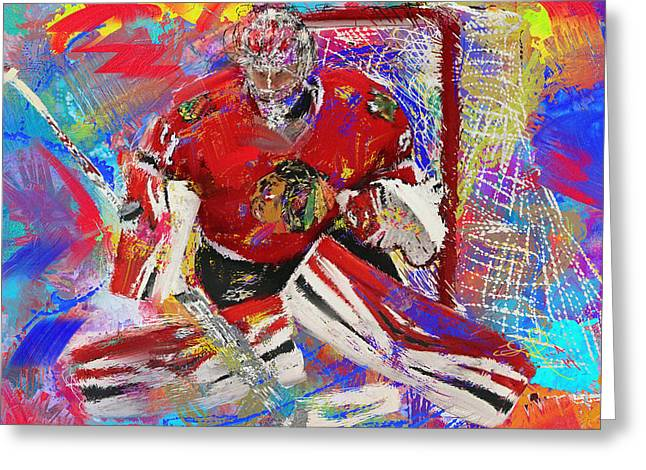Hockey Paintings Greeting Cards - Antti Raanta Greeting Card by Donald Pavlica