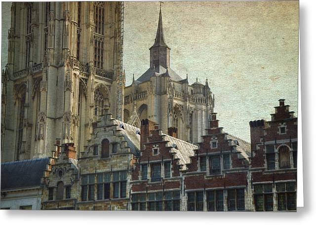 Guild Greeting Cards - Antwerp Skyline Greeting Card by Joan Carroll