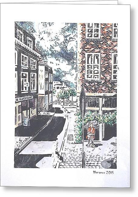 Linocut Paintings Greeting Cards - Antwerpen Greeting Card by Varvara Stylidou