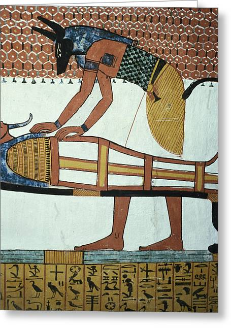 Burial Greeting Cards - Anubis And A Mummy, From The Tomb Of Sennedjem, The Workers Village, New Kingdom Mural See Greeting Card by Egyptian 19th Dynasty