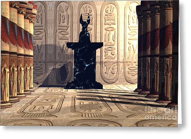 Pharaoh Digital Art Greeting Cards - Anubis Temple Greeting Card by Corey Ford