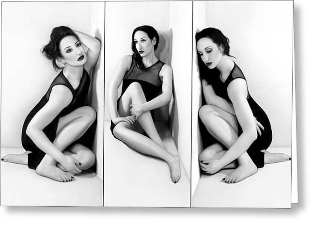 Self-portrait Photographs Greeting Cards - Anxiety 1 - Triptych - Self Portrait Greeting Card by Jaeda DeWalt