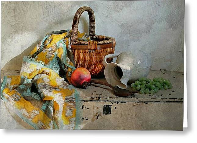 Recently Sold -  - Still Life With Old Pitcher Greeting Cards - Any Day Greeting Card by Diana Angstadt