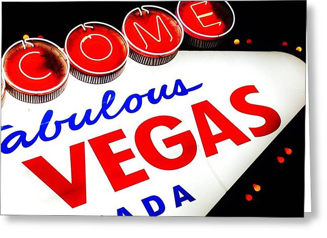 Las Vegas Sign Greeting Cards - Anytime Greeting Card by Benjamin Yeager