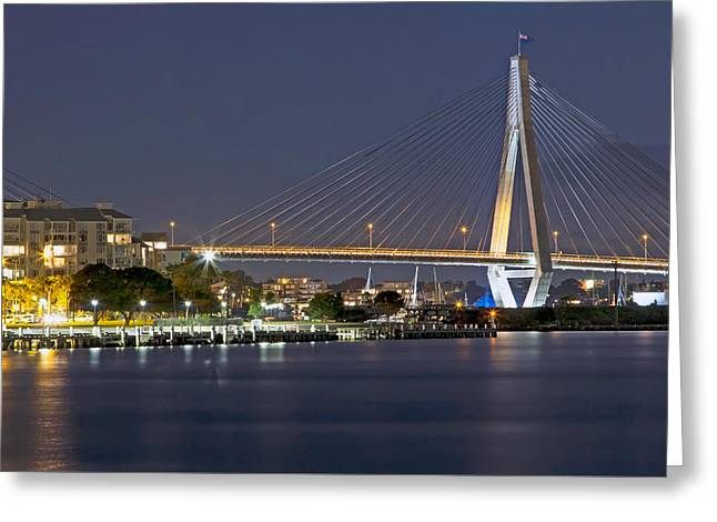 Island Stays Greeting Cards - Anzac Bridge by Night Greeting Card by Nicholas Blackwell