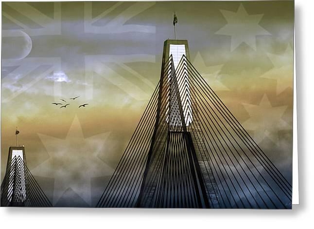 Anzac Greeting Cards - Anzac Bridge Greeting Card by Holly Kempe