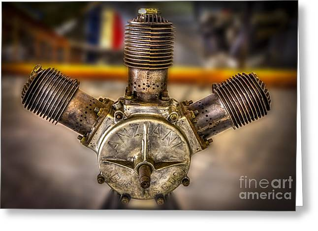 Airplane Engine Greeting Cards - Anzani Fan Greeting Card by Marvin Spates