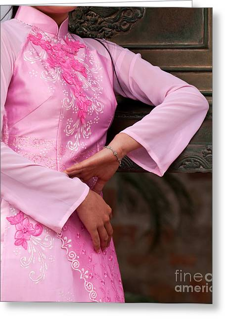 Embroidered Dress Greeting Cards - Ao Dai 07 Greeting Card by Rick Piper Photography