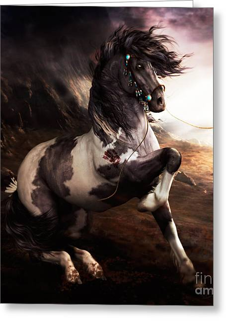 Wild Horses Greeting Cards - Apache Blue Greeting Card by Shanina Conway