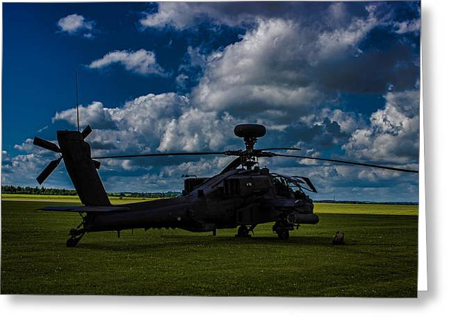 Helicopter Greeting Cards - Apache Gun Ship Greeting Card by Martin Newman