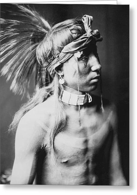 Curtis Greeting Cards - Apache Indian circa 1905 Greeting Card by Aged Pixel