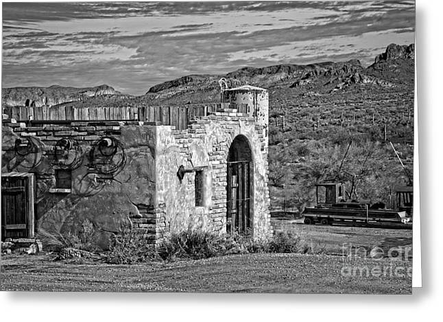 Old House Photographs Greeting Cards - Apache Junction Vista in Black and White Greeting Card by Lee Craig