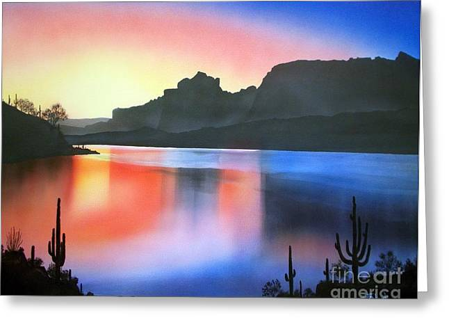 Fishing Creek Greeting Cards - Apache Lake Sunset Greeting Card by Jerry Bokowski