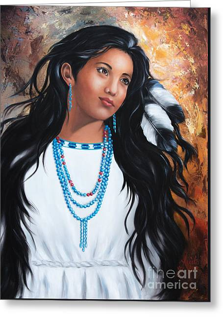 Traditionell Greeting Cards - Apache maiden dressed in traditional costumes Greeting Card by  ILONA ANITA TIGGES - GOETZE  ART and Photography