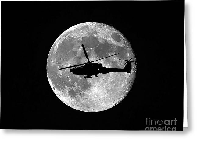Helicopter Photographs Greeting Cards - Apache Moon Greeting Card by Al Powell Photography USA