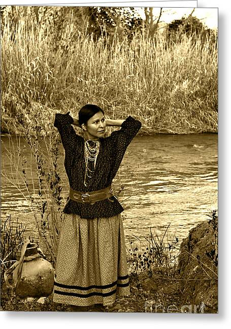 Maiden Greeting Cards - Apache River Maiden Greeting Card by Jean Hildebrant