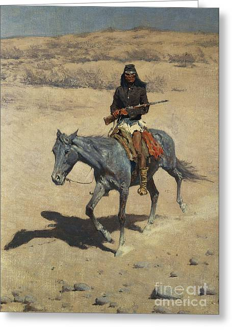 Remington Paintings Greeting Cards - Apache Scout  Greeting Card by Frederic Remington