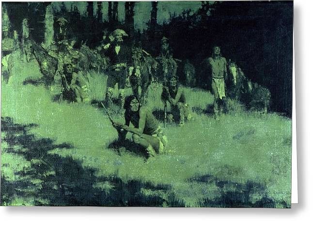 Concentrating Greeting Cards - Apache Scouts Listening, 1908 Greeting Card by Frederic Remington