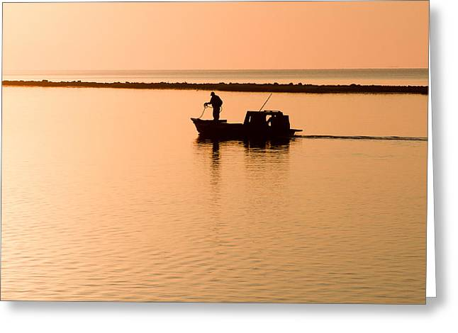 Apalachicola Greeting Cards - Apalachicola Oystermen at Sunrise Greeting Card by Bill Swindaman
