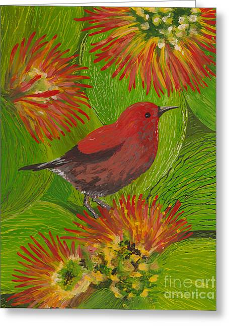 Fauna Glass Art Greeting Cards - Apapane Greeting Card by Anna Skaradzinska