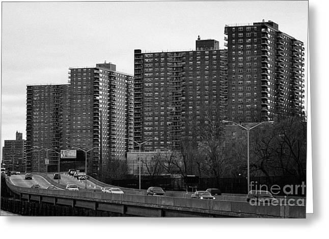 Manhatan Greeting Cards - apartment blocks in Harlem and FDR Drive from the east river new york city Greeting Card by Joe Fox