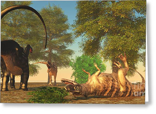 Brontosaurus Greeting Cards - Apatasaurus fights Ceratosaurus Greeting Card by Corey Ford