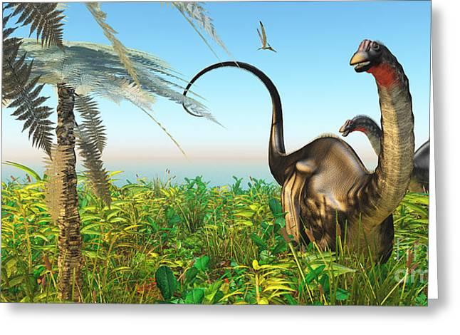Brontosaurus Greeting Cards - Apatosaurus Dinosaur Garden Greeting Card by Corey Ford