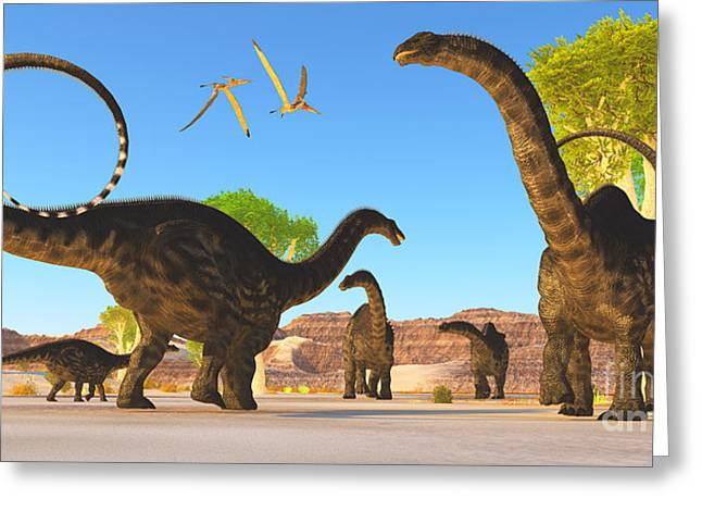 Brontosaurus Greeting Cards - Apatosaurus Forest Greeting Card by Corey Ford
