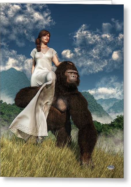 Abduction Digital Art Greeting Cards - Ape and Girl Greeting Card by Daniel Eskridge