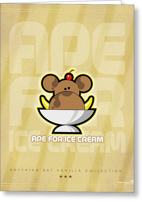 Bananas.ape Greeting Cards - Ape for ice cream Greeting Card by Chip David