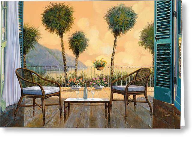 Dating Paintings Greeting Cards - Aperitivo Al Tramonto Greeting Card by Guido Borelli