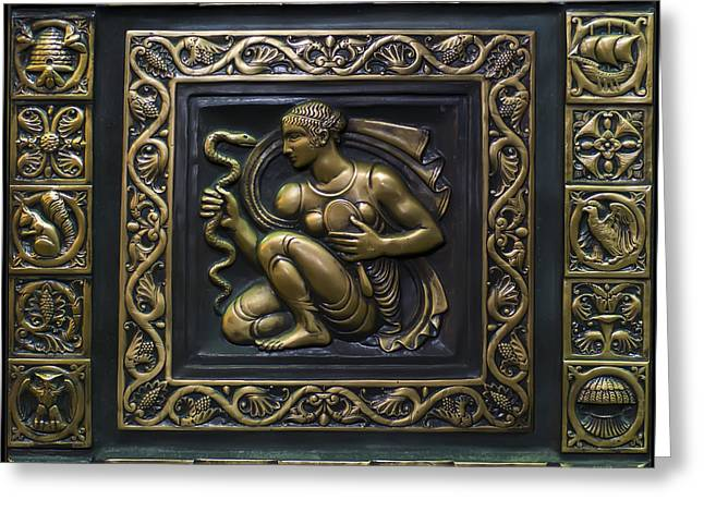 Engraving Greeting Cards - Aphrodite Bronze plate Greeting Card by Chris Flees