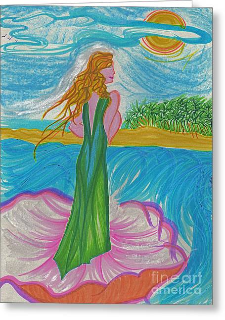 Seashell Drawings Greeting Cards - Aphrodite Venus Greeting Card by First Star Art