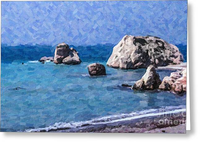 Petra Tou Romiou Greeting Cards - Aphrodites Rock Cyprus Greeting Card by Liz Leyden