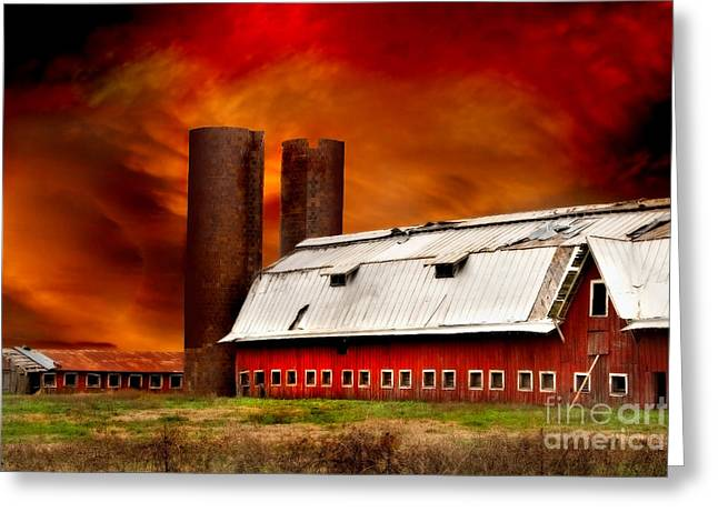 Red Roofed Barn Greeting Cards - Apocalypse at Rolling Fork Greeting Card by T Lowry Wilson