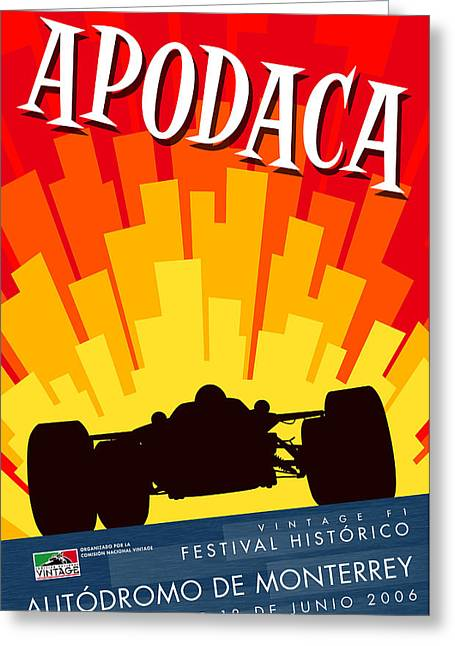 Rally Greeting Cards - Apodaca Monterrey Historic Vintage Festival Greeting Card by Nomad Art And  Design