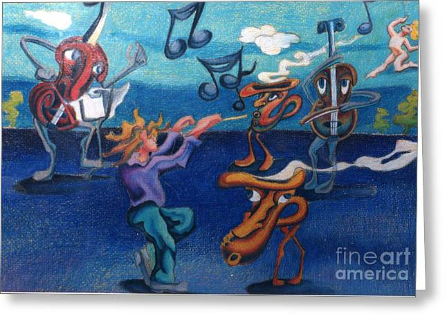 Stretching Drawings Greeting Cards - Apollinaires First Symphony With Musical Instruments Greeting Card by Genevieve Esson