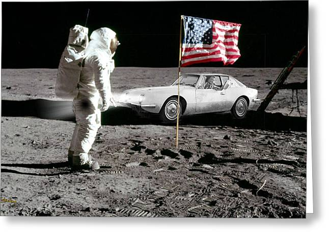 Moon Walk Greeting Cards - Apollo 11 and Lost Driver Greeting Card by Chuck Staley