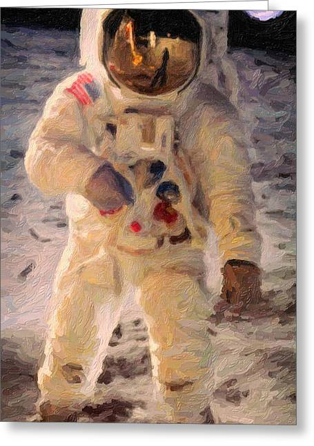 Crab Nebula Greeting Cards - Apollo 11 Astronaut Painting Greeting Card by Celestial Images