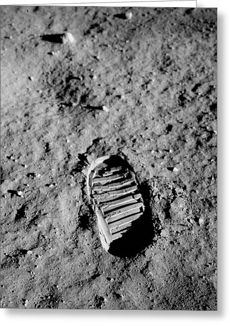 Abstract Greeting Cards - Apollo 11 Buzz Aldrins Moon Footprint  Greeting Card by Celestial Images
