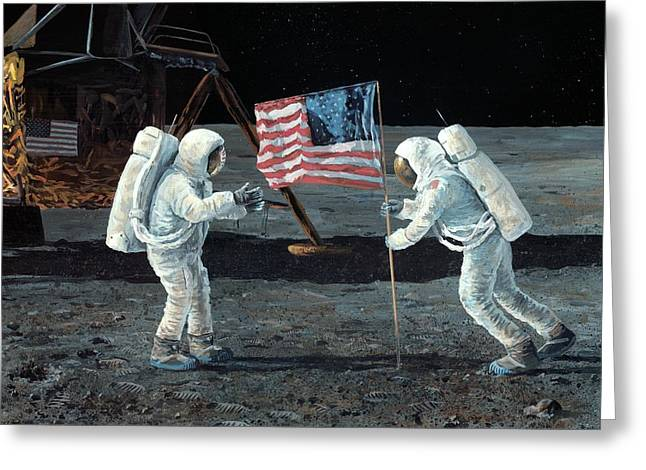 Moon And Neil Armstrong Greeting Cards - Apollo 11 Moon landing, 1969, artwork Greeting Card by Science Photo Library