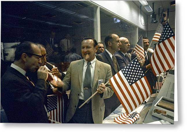 Mcc Greeting Cards - Apollo 11 officials celebrating, 1969 Greeting Card by Science Photo Library