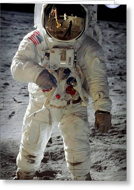 Horsehead Greeting Cards - Apollo 11 space suit worn by Buzz Aldrin Greeting Card by Celestial Images