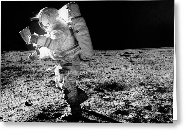 Apollo 14 Astronaut On The Moon Greeting Card by Nasa/detlev Van Ravenswaay