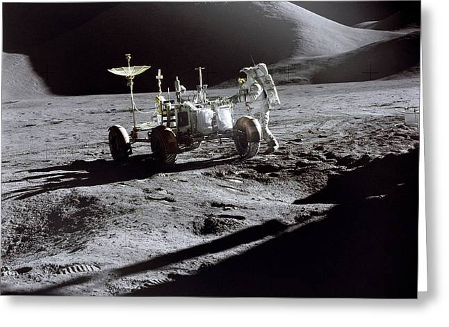 Apollo 15 Lunar Rover Greeting Card by Commander David Scott