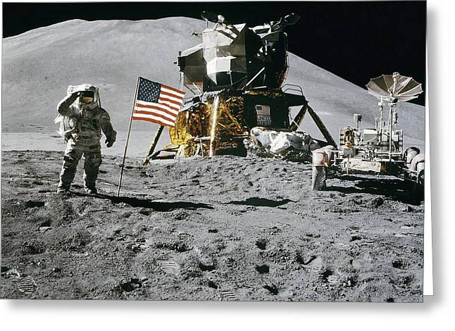 Moon Landing Greeting Cards - Apollo 15 Moon Landing Greeting Card by Digital Reproductions