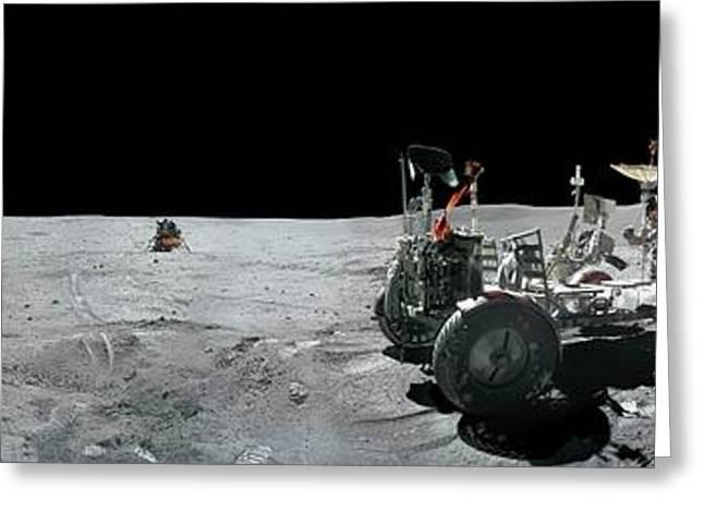 Apollo 16 Exploration Of The Moon Greeting Card by Carlos Clarivan