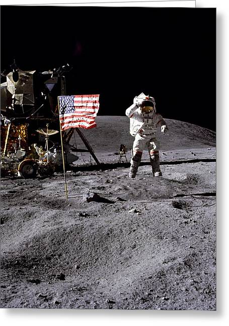 Roving Greeting Cards - Apollo 16 lunar landing Astronaut Young Greeting Card by Movie Poster Prints